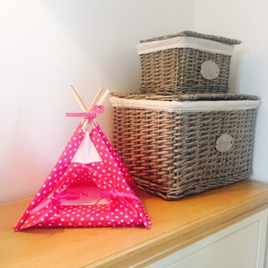 pink small pet house by Samuel & Rigby
