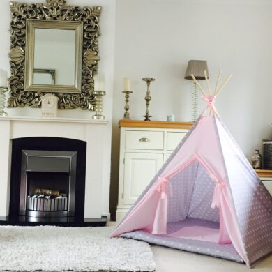 pale pink grey star girls teepee by Samuel And Rigby